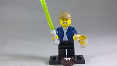 Brick Yourself Custom Lego Minifigure - NFL Lover with Lightsaber & Beer