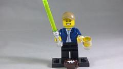 Brick Yourself Custom Lego Minifigure - NFL Lover with Lightsaber & Beer