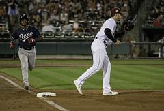 Running out to First (dcnelson1898) Tags: westsacramento california yolocounty sacramentorivercats renoaces aaabaseball minorleaguebaseball sanfranciscogiants arizonadiamondbacks sports baseball nightgame raleyfield