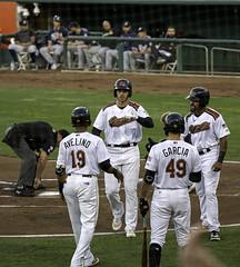 Home Run Celebration (dcnelson1898) Tags: westsacramento california yolocounty sacramentorivercats renoaces aaabaseball minorleaguebaseball sanfranciscogiants arizonadiamondbacks sports baseball nightgame raleyfield