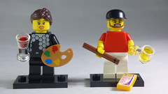 Brick Yourself Custom Lego Minifigures - Footballer with Wine & Paint Pallette & Guy with Plane Ticket, Beer & Cigar