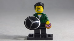 Brick Yourself Custom Lego Minifigure - Happy Guy with Mercedes Badge & Doughnut