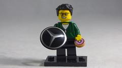 Brick Yourself Custom Lego Minifigure - Happy Guy with Mercedes Badge & Doughnut
