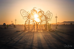 Bee Dancers (sberkley123) Tags: burningman tamron artinstallation nikon sunset burner beedancers andreagreenlees 2470mm art joshhaywood usa andytibbetts playa
