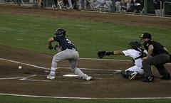 The Bunt (dcnelson1898) Tags: westsacramento california yolocounty sacramentorivercats renoaces aaabaseball minorleaguebaseball sanfranciscogiants arizonadiamondbacks sports baseball nightgame raleyfield