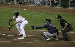 Bunt Foul (dcnelson1898) Tags: westsacramento california yolocounty sacramentorivercats renoaces aaabaseball minorleaguebaseball sanfranciscogiants arizonadiamondbacks sports baseball nightgame raleyfield