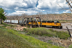 Seep Creek (Carlos Ferran) Tags: up union pacific montrose local gp60 1019 locomotive railroad rail road rails colorado thunder storm emd gunnison river summer spring bridge dominguez canyon west is best