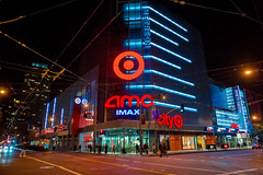 Metreon (ezeiza) Tags: california ca sanfrancisco san francisco downtown urban center citytarget city target targetstores store retail building neon sign bullseye logo night metreon street intersection sidewalk people pedestrian amc imax cinema movietheater movie theater theatre shoppingcenter shopping mall sony