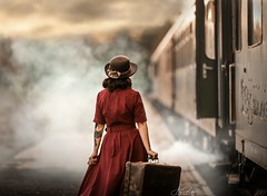 Vintage Train (agirygula) Tags: vintage train steamtrain outdoor nature natural light sundown suitcase way journey vacations woman beautiful red focus steam