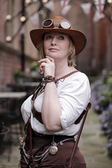 Portrait from the Whitby Steampunk Weekend VI (Gordon.A) Tags: whitby yorkshire england uk whitbysteampunkweekend vi wsw steampunk convivial festival event culture subculture style lifestyle creative costume costumes design lady woman female people face model pose posed posing outdoor outdoors outside wall naturallight colour colours color colors amateur portrait portraiture photography digital canon eos 750d sigma sigma50100mmf18dc