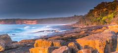 Colourful Sunrise Seascape Panorama (Merrillie) Tags: holidays natural sunrise merimbula nature australia newsouthwales sea sapphirecoast nsw ocean shortpoint coastal colours sky seascape colourful begavalleyshire landscape coast