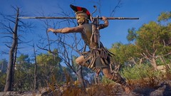 Jumping Spear Lunge (Ma_045) Tags: assassinscreedodyssey assassinscreed kassandra jumpingattack virtualphotography digitalart ingamephotography pcgame ubisoft spear sparta spartan female ancientgreece fight