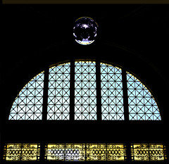 Entrance to the old railway station (chrisk8800) Tags: architecture entrance glass decoration metalball reflections lines curve geometry barcelona