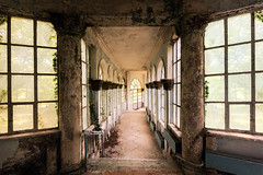 The Passageway // Georgia 2.0 (James Kerwin Photographic) Tags: 2019 artist british nomadic abandoned architecture colour derelict details disused fineart history light photographer shapes structure travel georgia corridor hotel dreamy colours soviet yellow blue green windows flooring tiles railing