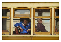 Different worlds (Robert Frank 1924-2019) (AurelioZen) Tags: europe portugal porto centro stcp linha1 eléctrico passengers streetcar tram