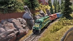 E&N 3004 Heads a Freight Out of Bear Creek, Canada. (ManOfYorkshire) Tags: bearcreek canada en diesel friehgt locomotive loco train railway westerncanada britishcolumbia vancouverisland esquimalt esquimaltnanaimo nanaimo 3004 ngauge 1160 scale model layout loughborough show exhibition 2019