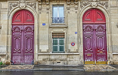 doors (albyn.davis) Tags: paris europe france doors building colors purple red window symmetry balance travel