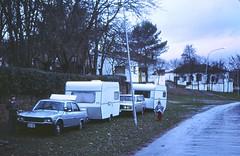 Canadians traveling in Spain Dec 29 1978 (D70) Tags: december29 1978 peugeot 504 volvo 240 travel trailers canadians spain dec29 sean julie corralejos madrid knaus halfframe kodachrome 64asa film slide olympus penf winter kodachrome64 scanned traveling