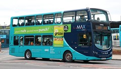 Arriva Yorkshire 1714 NK13AZC in Wakefield with a Leeds service. (Gobbiner) Tags: 1714 wakefield arrivayorkshire b5lh leeds hybrid max arrivabuscoukyorkshire nk13azc volvo eclipsegemini