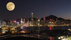 Happy Mid-Autumn Festival and ... (snapcat101) Tags: hongkong victoriaharbour westkowloon midautumnfestival supermoon fullmoon