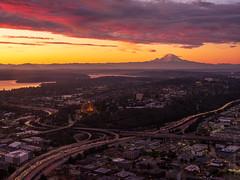 Interstate Interchange and Rainier Sunrise in Seattle (www.mikereidphotography.com) Tags: gfx50s
