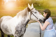 Sensual Caucasian Brunette With Tiara Embracing with High Breed Horse Outdoors. (DmitryMorgan) Tags: 1 active activity animal breed bridle brown caucasian country cute dress equestrian farm female field freedom fun grass happy horse horseback joyful leisure lifestyle light love lovely meadow nature outdoors outside person pony ranch recreation romantic salution smile spring stud summer sun sunny trot vacation woman young