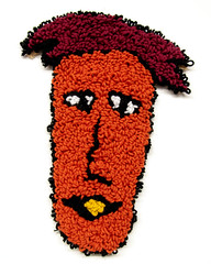 Lindon (H o l l y.) Tags: rughooking rug fine art tapestry loop hole face character caricature funny silly weird eyes drawing acrylic yarn