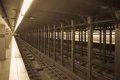 New York Subway (iammattdoran) Tags: new york subway metro city transport transportation tracks lines rails railway trains cars platform columns supports iron steel strong bold architecture architect design resilient classic american