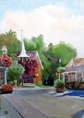 Village Church, Unionville, Plein Air, 2019-09-11 (light and shadow by pen) Tags: watercolor landscape pleinair art toronto