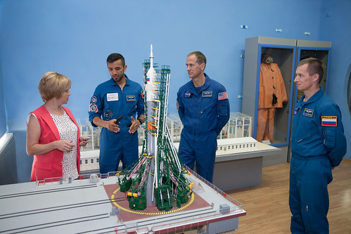 The backup crewmembers for the next launch to the space station discuss the workings of a Soyuz launch pad