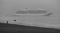 Cruising Through the Mist (byronv2) Tags: edinburgh edimbourg scotland blackandwhite blackwhite bw monochrome portobello sea seaside rnbforth rnbfirthofforth forth firthofforth river riverforth water mist fog haar ship vessel boat cruiseliner liner