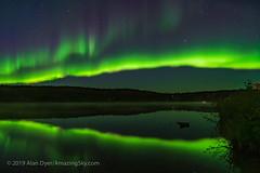Aurora Reflections at Madeline Lake #2 (Amazing Sky Photography) Tags: aurora ingraham madeline nwt northernlights northwestterritories yellowknife borealis lake nightscape reflections stars trail water