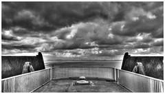 Eidersperrwerk (st-schulte) Tags: blackandwhite bw schwarzweis sw clouds wolken himmel sky dark dunkel northsea nordsee