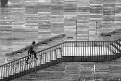 In the floating staircase (pascalcolin1) Tags: paris13 homme man escalier staircase marches steps photoderue streetview urbanarte noiretblanc blackandwhite photopascalcolin 50mm canon50mm canon