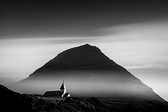 Faroe Islands No. 138 www.ColeThompsonPhotography.com (Cole Thompson) Tags: photoart photography monoart fog clouds dark fineart noiretblanc noir monochromatic monochrome mono blackandwhite bw bnw longexposure church faroe's faroeislands colethompson cole fineartphoto artphoto
