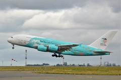 "(CDG) Hifly  Airbus A380 9H-MIP takeoff runway 27L""Save the coral reefs livery"" (dadie92) Tags: cdg lfpg roissy airbus a380 9hmip hifly takeoff runway27l spotting speciallivery airplane aircraft savethecoralreefs nikon d3200 sigma tamron 150500 danieldanel"