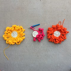 Three large crochet flowers B (crochetbug13) Tags: crochet crocheted crocheting crochetmural yarnbomb crochetyarnbomb crochetyarnbombing crochetflowers crochetcircles