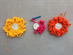 Three large crochet flowers A (crochetbug13) Tags: crochet crocheted crocheting crochetmural yarnbomb crochetyarnbomb crochetyarnbombing crochetflowers crochetcircles