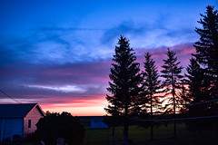 Morning (darletts56) Tags: sky blue cloud clouds morning sunrise pink orange white purple yellow grey green tree trees bush bushes building buildings reflection valley village prairie field fields country countryside saskatchewan canada chair chairs fence view dawn silhouette