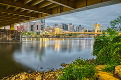 Pics from Pittsburgh #4 (tquist24) Tags: alleghenyriver andywarholbridge hdr nikon nikond5300 northshoretrail outdoor pennsylvania pittsburgh robertoclementebridge bridge city cityscape clouds downtown geotagged lights longexposure morning outside reflection reflections river sky water
