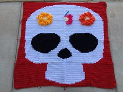 The Day of the Dead yarn bomb with the large crochet flowers (crochetbug13) Tags: crochet crocheted crocheting crochetmural yarnbomb crochetyarnbomb crochetyarnbombing crochetflowers crochetcircles