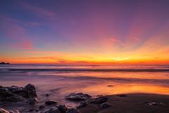 Rockaway Beach (explored) (j1985w) Tags: california pacifica rockawaybeach sunset longexposure beach ocean waves sand skuy clouds rocks creek river