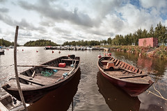 Two Old Fishing Boats (k009034) Tags: bothianbay copyspace day finland kalajoki outdoors tranquilscene boat clouds engine fishing fishingharbour harbour nopeople oar old pole port reflection rope rowing sea seat sky summer travel trees vintage water wooden