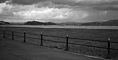 Grange over Sands Promenade (pjamesmain) Tags: river estuary shore clouds bw grassland lancashire cumbria coast morecambe bay tidal sea leisure