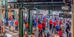 Humanity At The Gates (Wes Iversen) Tags: chicago chicagocubs fencefriday hff illinois nikkor18300mm wrigleyfield wrigleyville baseball brick children gates humanity men metaldetectors painterly people sports women