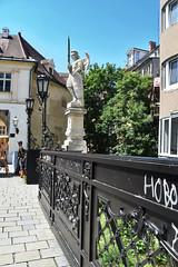 Happy Fence Friday (HFF), Bratislava, Slovakia. (Manoo Mistry) Tags: europe slovakia bratislava lamp statue fence lamppost lantern hff happyfencefriday