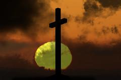 End of Days (lightersideofdark) Tags: dark outside outdoors cross sun settingsun endofdays red faith religion worship clouds sky yellow darkclouds