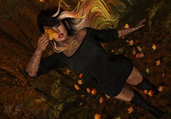 In The Air! (Micha Broadfoot (Bravin)) Tags: secondlife fashion pohui extra clothing fall fun leaves wind dark shadows goth demon saturday sale cosmopolitan saturdaysale