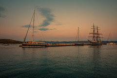 Evening light...... (Dafydd Penguin) Tags: marina harbour harbor port dock quay tall ship square sail traditional yacht yachting sailing sailboat boat boating quayside harbourside lavrion attica greece mediterranean sea water sun sunset evening light leica m10 voigtlander 15mm super wide heliar f45 viii v3 asph