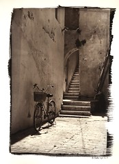 (bachirdebs) Tags: kallitype alternative analog traditional contact uv toning moersch ats gold selenium lebanon tripoli mina leica m3 ilford delta tetenal neofin heimat bicycle bike old vintage enlarged reversal